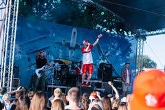 Konsert av den ukrainska rapkonstnären Yarmak May 27, 2018 på festivalen i Cherkassy, Ukraina Arkivfoton