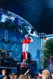 Konsert av den ukrainska rapkonstnären Yarmak May 27, 2018 på festivalen i Cherkassy, Ukraina Arkivbilder