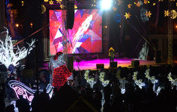 Konsert för helgdagsafton för nytt år för Varna stad Arkivbild