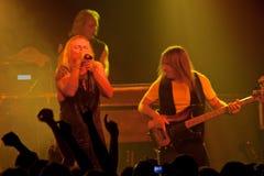 Konsert för URIAH HEEP på den Progresja WarszawaPolen klubban på November 5, 2008 Arkivfoto