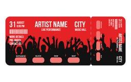 Konsertbiljettmall Mallen för den konsert-, parti- eller festivalbiljettdesignen med folk tränger ihop på bakgrund stock illustrationer