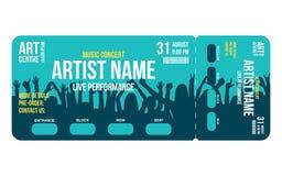 Konsertbiljettmall Mallen för den konsert-, parti- eller festivalbiljettdesignen med folk tränger ihop på bakgrund vektor illustrationer