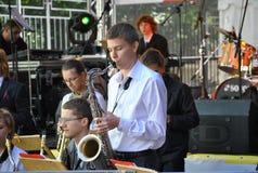 Konserten på den Moscow Jazzhögskolan Arkivbild