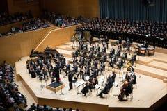 Konserthall Auditori Banda kommunal de Barcelona med åhörare Fotografering för Bildbyråer