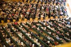 Konserthall Auditori Banda kommunal de Barcelona med åhörare Arkivbild