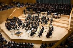 Konserthall Auditori Banda kommunal de Barcelona med åhörare Arkivfoton