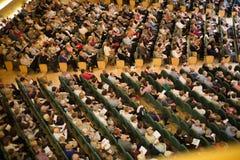 Konserthall Auditori Banda kommunal de Barcelona med åhörare Arkivbilder