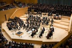 Konserthall Auditori Banda kommunal de Barcelona med åhörare Royaltyfria Bilder