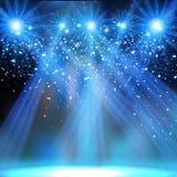 Konsertpartietappen riktar uppmärksamheten på neonljus royaltyfri illustrationer