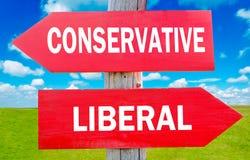 Konservativer oder Liberaler Stockbild