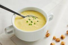 Konservera soppa med kräm- och torkade lotusblommabönor på vit bakgrund Royaltyfri Fotografi