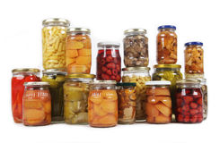 Konservierte Obst und Gemüse lizenzfreie stockfotografie