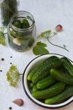 Konserwacja peklowanie ogórek Przygotowanie konserwacja od organicznie warzyw na lekkim tle Domowej roboty organicznie cru Obrazy Stock