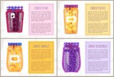 Konserwować jagody z majcherami Plakatowymi i cytrusy ilustracji