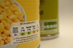 Konserwować jedzenia Pakować UK Na porci odżywiania etykietkę Zdjęcia Royalty Free