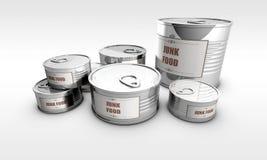 Konserwować jedzenie z szybkie żarcie etykietką Obrazy Royalty Free