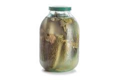 Konserwować kiszeni słoni ogórki w szklanym słoju odizolowywającym na białym tle Obrazy Royalty Free