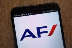 Air France logo displayed on a modern smartphone. KONSKIE, POLAND - AUGUST 18, 2018: Air France logo displayed on a modern smartphone royalty free stock photography