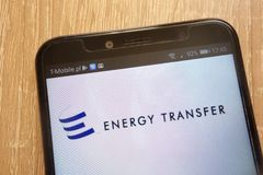 Energy Transfer Equity logo displayed on a modern smartphone. KONSKIE, POLAND - AUGUST 11, 2018: Energy Transfer Equity logo displayed on a modern smartphone stock photo