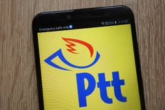 PTT logo displayed on a modern smartphone royalty free stock photography