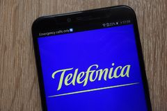 Telefonica logo displayed on a modern smartphone royalty free stock images