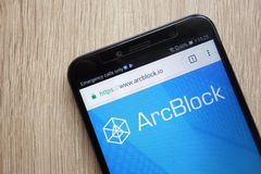 ArcBlock ABT cryptocurrency website displayed on Huawei Y6 2018 smartphone. KONSKIE, POLAND - JULY 08, 2018: ArcBlock ABT cryptocurrency website displayed on royalty free stock photography
