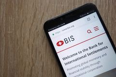 Bank for International Settlements BIS website displayed on a modern smartphone royalty free stock images