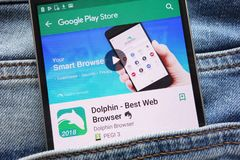 Dolphin - Best Web Browser app on Google Play Store website displayed on smartphone hidden in jeans pocket. KONSKIE, POLAND - JUNE 09, 2018: Dolphin - Best Web stock image