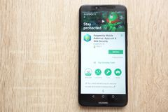 Kaspersky Mobile Antivirus: AppLock and Web Security app on Google Play Store website displayed on Huawei Y6 2018 smartphone. KONSKIE, POLAND - JUNE 17, 2018 royalty free stock images