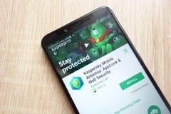 Kaspersky Mobile Antivirus: AppLock and Web Security app on Google Play Store website displayed on Huawei Y6 2018 smartphone. KONSKIE, POLAND - JUNE 17, 2018 stock photography