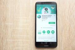 Kaspersky Mobile Antivirus: AppLock and Web Security app on Google Play Store website displayed on Huawei Y6 2018 smartphone. KONSKIE, POLAND - JUNE 17, 2018 royalty free stock photos