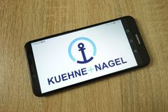 KONSKIE, POLAND - June 11, 2019: Kuehne Nagel International AG company logo on mobile phone. KONSKIE, POLAND - June 11, 2019: Kuehne Nagel International AG stock photo