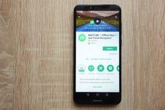 MAPS.ME app on Google Play Store website displayed on Huawei Y6 2018 smartphone. KONSKIE, POLAND - JUNE 17, 2018: MAPS.ME app on Google Play Store website stock images