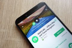MAPS.ME app on Google Play Store website displayed on Huawei Y6 2018 smartphone. KONSKIE, POLAND - JUNE 17, 2018: MAPS.ME app on Google Play Store website royalty free stock image