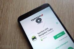 TomTom GPS Navigation Traffic app on Google Play Store website displayed on Huawei Y6 2018 smartphone. KONSKIE, POLAND - JUNE 17, 2018: TomTom GPS Navigation stock images
