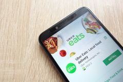 Uber Eats: Local food delivery app on Google Play Store website displayed on Huawei Y6 2018 smartphone stock photography
