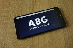 ABG Sundal Collier bank logo displayed on smartphone. KONSKIE, POLAND - March 14, 2019: ABG Sundal Collier bank logo displayed on smartphone stock photos