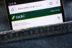 Sumitomo Mitsui Banking Corporation SMBC website displayed on smartphone hidden in jeans pocket royalty free stock images