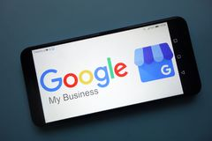 Google My Business logo displayed on smartphone. KONSKIE, POLAND - November 25, 2018: Google My Business logo displayed on smartphone stock photos
