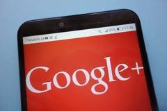 Google Plus Google+ logo displayed on smartphone. KONSKIE, POLAND - November 12, 2018: Google Plus Google+ logo displayed on smartphone royalty free stock photos