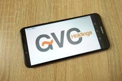 KONSKIE POLSKA, Czerwiec, - 21, 2019: Gvc mień plc firmy logo na telefonie komórkowym obrazy royalty free