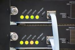 konsolen förde nätverksströmbrytaren Arkivfoton