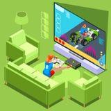 Konsolen-Videospiel-Ikonen-isometrische Leute-Vektor-Illustration Lizenzfreies Stockfoto