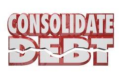 Konsoliduje długu 3d słowa Zmniejsza pieniędzy zobowiązań rachunki Zawdzięczających ilustracja wektor