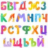 Konsonanter av det Cyrillic alfabetet gillar fåglar Royaltyfria Bilder
