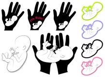 konst 2 behandla som ett barn logoer för gemfosterspädbarn Arkivfoton