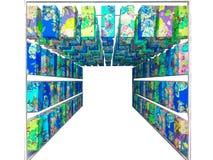 konst av den isolerade blåa inre för dekor för Japan lyktapapper Royaltyfria Bilder