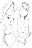 Konst av linjen konst - flicka och pojke Arkivfoto