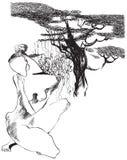 Konst av linjen konst - naken kvinna Arkivfoton