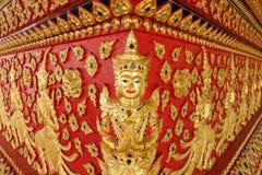Konst av thai skulptur i Wat Suan Dok, thai tempel Arkivbilder